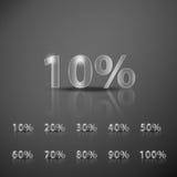 Pour cent métalliques d'infographics réglés Photos stock
