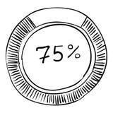 Pour cent montrant l'infographics, style tiré par la main Illustration de Vecteur