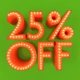 25 pour cent outre d'illustration orange du vert 3D de remise d'offre de vente Photo libre de droits