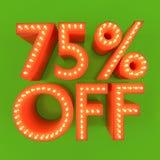 75 pour cent outre d'illustration orange du vert 3D de remise d'offre de vente Photographie stock libre de droits