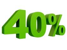 Pour cent outre de remise % 3d verdissent le texte d'isolement sur un rendu blanc du fond 3d illustration libre de droits