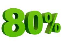 Pour cent outre de remise % 3d verdissent le texte d'isolement sur un rendu blanc du fond 3d illustration stock