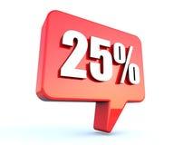 25 pour cent outre de signe de bulle illustration stock