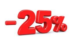 25 pour cent outre de signe de remise Le texte rouge est isolé sur le blanc Photographie stock