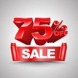 75 pour cent outre de style rouge du petit pain 3D de bannière de ruban de vente Images stock
