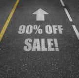 90 pour cent outre de vente se connectent la route Photo libre de droits