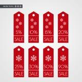 5 10 15 20 25 30 50 90 pour cent outre des icônes de vecteur d'étiquette d'achats Signes d'illustration réglés en vente de Noël Images libres de droits