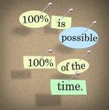 100 pour cent sont des cent pour cent possible de dire de temps Photo libre de droits