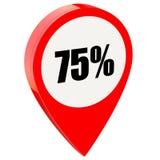 75 pour cent sur la goupille rouge brillante illustration de vecteur