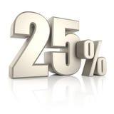25 pour cent sur le fond blanc 3d rendent Photo stock
