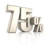 75 pour cent sur le fond blanc 3d rendent Photographie stock