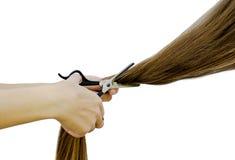 Pour couper de longs cheveux Photographie stock libre de droits