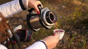 Pour delicious tea from a thermos stock footage