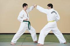 Pour deux hommes aux exercices du Taekwondo Photographie stock libre de droits