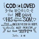 Pour Dieu ainsi aimé le monde John 3 16 Image stock