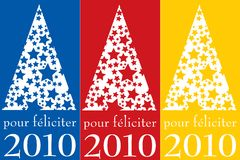Pour féliciter 2010. Pour féliciter 2010 in three different colours. christmas  image Royalty Free Stock Photos