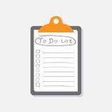 Pour faire l'icône de liste avec le texte tiré par la main Liste de contrôle, vecto de liste des tâches Photo stock