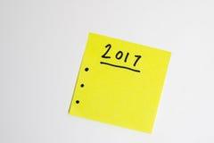 Pour faire la liste pendant la nouvelle année en jaune Image libre de droits