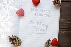 Pour faire la liste transformée en nouveau Year& x22 ; résolutions de s principal im Images stock