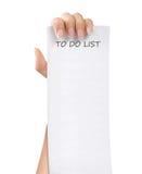 Pour faire la note de papier de liste Images stock
