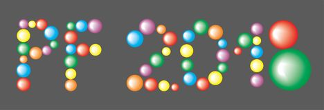 Pour Feliciter 2018 from the Colored Balls Royalty Free Stock Images