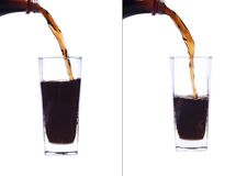 Pour, fill a glass of cola. A glass of cola shot on a white background Royalty Free Stock Images