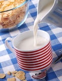 Pour the fresh milk for breakfast. Pour fresh milk into the cup Stock Photos