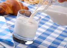 Pour the fresh milk for breakfast. Pour the fresh milk in the glass beaker Stock Photography
