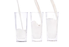 Pour a glass of milk. Photographed on a white background Stock Images