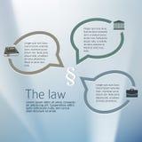 pour juridique et le cabinet d'avocats La tache floue argentée de lueur avec la loi juridique de signe et la bulle parlent Écran  Images stock