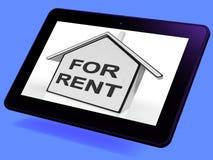 Pour la maison à louer la Tablette signifie la location ou le bail de propriété Images libres de droits
