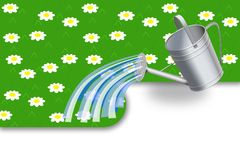 We pour a lawn. Illustration of watering-can which pours a green lawn Royalty Free Stock Image