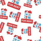 Pour le signe de loyer avec l'icône sans couture de fond de modèle de maison Busin Image libre de droits