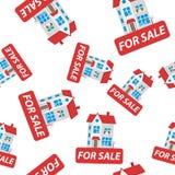 Pour le signe de vente avec l'icône sans couture de fond de modèle de maison Busin Image stock