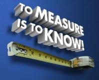 Pour mesurer est dire de mesure de mots de la bande 3d de savoir Photos stock