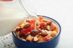 Pour milk muesli Royalty Free Stock Photos
