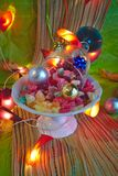 Christmas composition with assorted candies. royalty free stock images