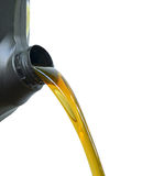 Pour of oil from the gallons Black.White background Royalty Free Stock Photos