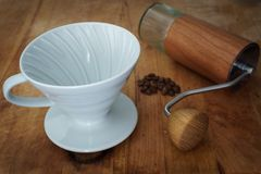 Pour Over Coffee Brewing Equipments stock photos