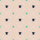 Pour Over Dripper and Kettle Pattern - Colour Edition Royalty Free Stock Image