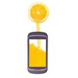 Pour remplir, pleuvoir à torrents, cellulaire, jus, orange Photo libre de droits