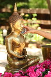 Pour water. Buddha pour water for Songkran Royalty Free Stock Photography