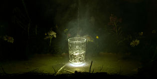 Pour water into a glass on the sunset background Royalty Free Stock Photos