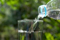 Pour water in the glass under green background.  Stock Image