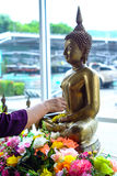 Pour water over a Buddha statue. A Buddhist extending an arm to pour water over a Buddha statue, a traditional cleaning given during the Thai new year of Royalty Free Stock Photo