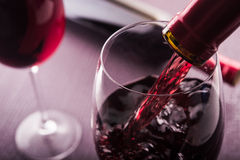 Poured Red Wine Stock Photos