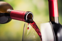 Poured red wine stock image
