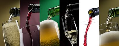 Pouring alcoholic drinks in glasses photo collage Stock Photography