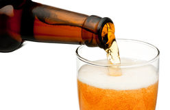 Pouring beer from bottle isolated on white background Royalty Free Stock Photo