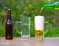 Pouring beer glasses from bottle on green background in garden Royalty Free Stock Photography